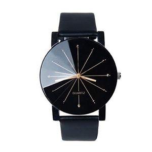 Quartz leather watch black leather band